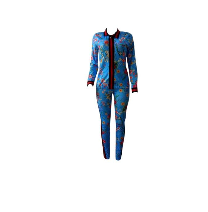 2 piece set wnew women's wear north American style sexy fashion fall digital print zipper pencil pants track suit two-piece suit