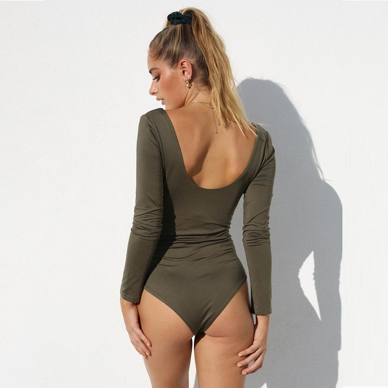 Autumn Winter Women Long Sleeve Cotton Black Sexy Bodycon Bodysuit