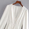 Autumn Female white dress V-neck long-sleeved dress casual shirt dress decorative buttons maxi Vestidos