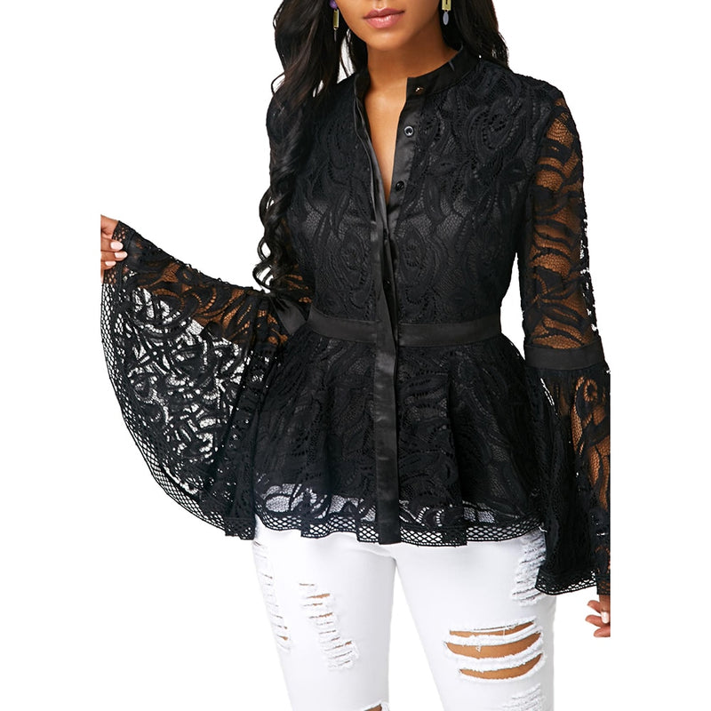 Plus Size Women Fashion See-through Lace Long Flare Sleeve Blouse Slim Fit Hand-wash Blouse Fashion Mesh Blouse Women's