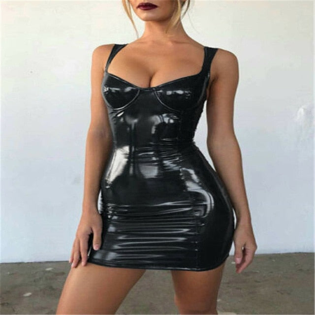 Sexy Backless Club Party Short Dress Solid Black Wet Look Latex Bodycon Faux Leather Push Up Bra Mini Micro Dress Leotard