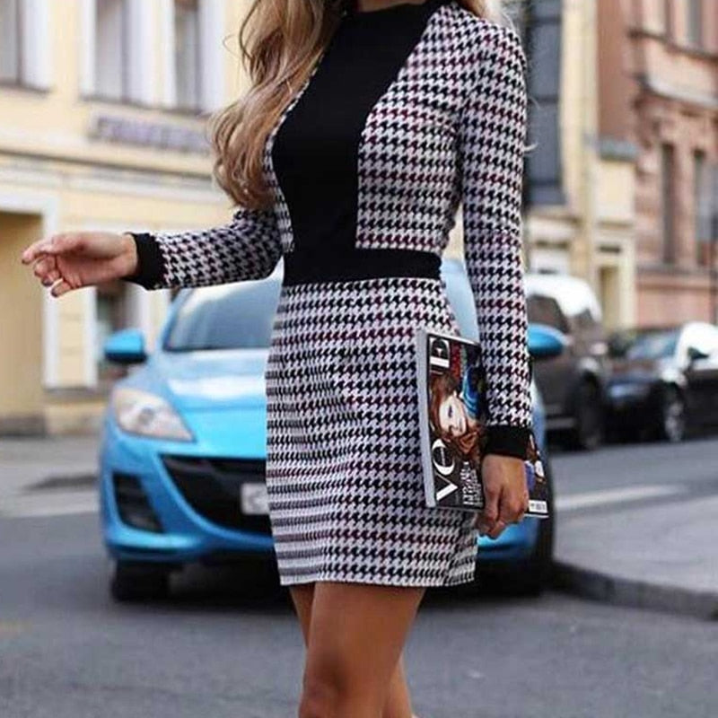 Women Sexy OL Long Sleeve Short Dress Fall Winter Vintage Houndstooth Print Slim Office Mini Dresses Womens Party vestido
