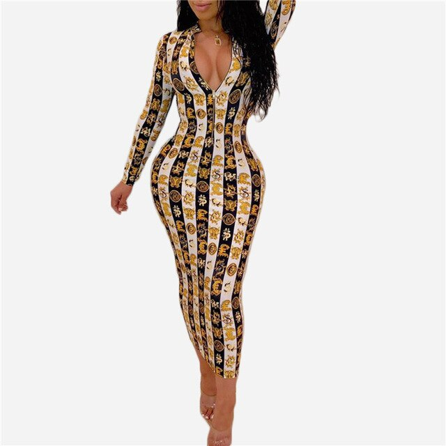 Women Summer National Paisley Print Zipper Up Turn Down Neck Bodycon Midi Maxi Dres Vintage Sexy Party Long Dresses