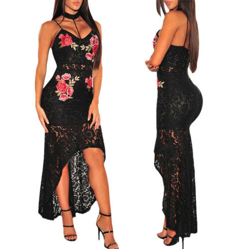 Womens Bodycon Plunge Slim Sexy Hollow Out Black Rose Floral Lace Strappy Ladies Party Evening Midi Dress Size S-XL V-neck