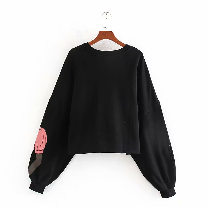 2020 New Women sweet modern beauty girls printing casual sweatershirts ladies basic lantern sleeve fleece hoodies chic tops