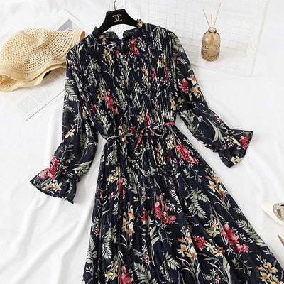 2020 Spring Summer New Hot Women Print Pleated Chiffon Dress  Fashion Female Casual Flare Sleeve Lotus leaf neck Basic Dresses86
