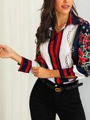 2020 Women Fashion Elegant Office Look Work Wear Party Shirt Female Tops Weekend Floral & Chains Print Casual Blouse