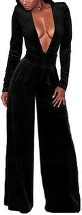 LightlyKiss Women's Sexy Deep V-Neck Long Sleeve Velvet Pants One Piece Romper Jumpsuits