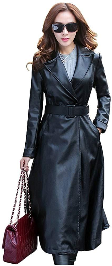 Elezay Women's PU Leather Slim Fit Long Coat Maxi Jacket