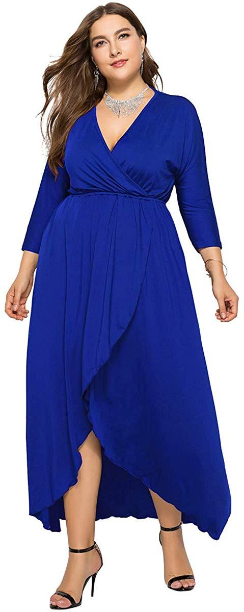 egosopp Women Plus Size Maxi Dress Long Sleeve Wrap V-Neck Dress Empire Waist Casual Ruffle Dress for Women
