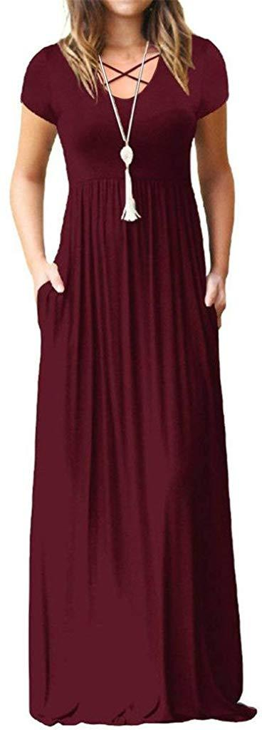 EZBELLE Women's Short Sleeve Maxi Dresses with Pockets Plain Loose Long Dresses