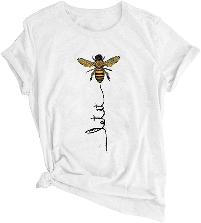 Kaxindeb Women's Summer Cute Bee Graphic Letter Print Tees Basic Casual Short Sleeve Loose Fit T Shirts Tops