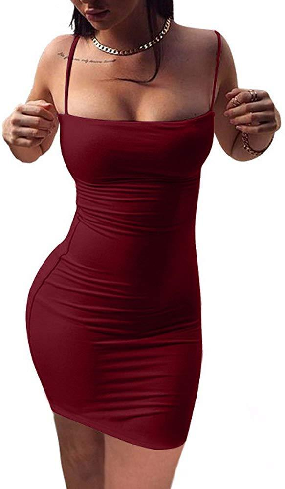 BEAGIMEG Women's Sexy Spaghetti Strap Sleeveless Bodycon Mini Club Dress