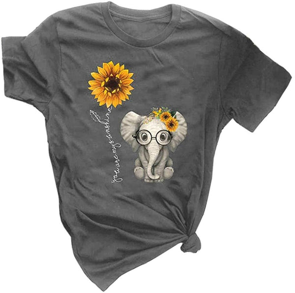 Qianxitang Women's Graphic Tees Cute Sunflower Elephant Print Summer Casual Short Sleeve Round Neck Tops T Shirt