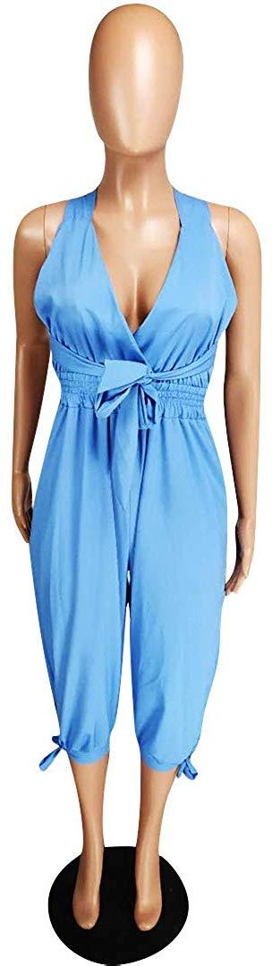 Womens Sexy Halter Backless V Neck Denim Jumpsuit Rompers Overalls S XXL