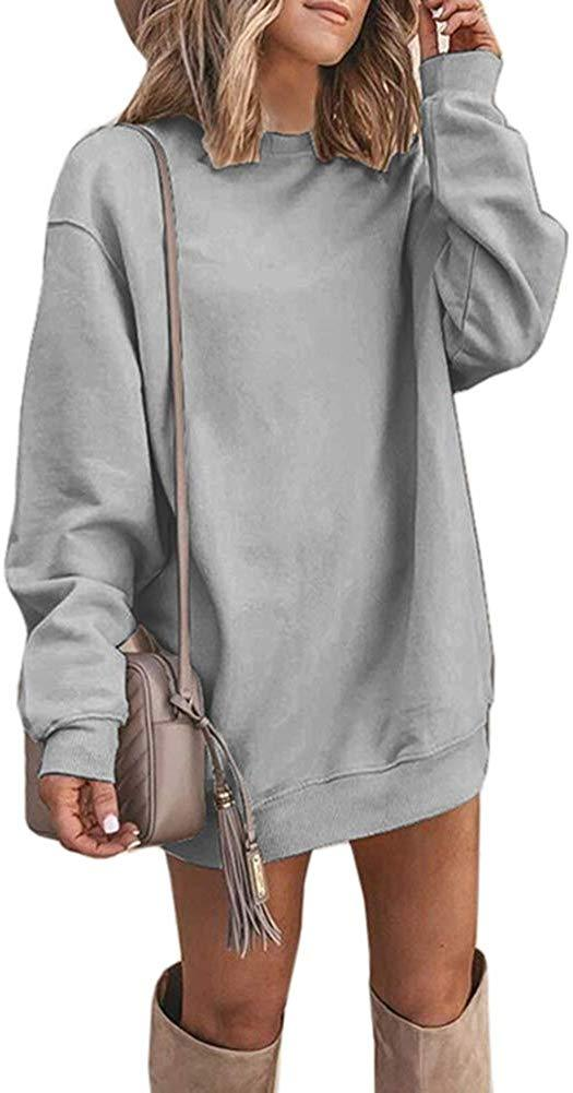 Kaxindeb Womens Sweatshirt Dress Crew Neck Long Sleeve Fall Casual Oversized Loose Plain Tunic Pullover Sweatshirts
