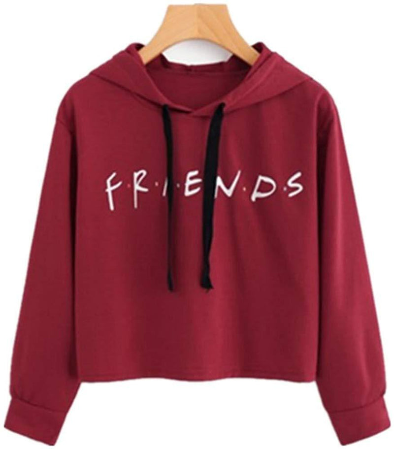 LHAYY Women's Teen Girls Casual Loose Top Letters Print Pullover Friend Hoodie Sweatshirt Friend TV Show Merchandise