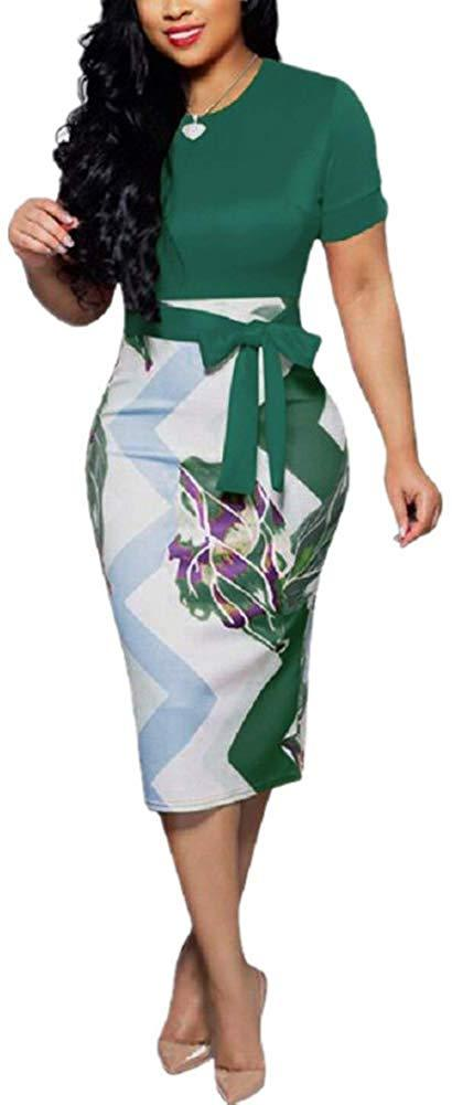 Women's Bodycon Dress Midi Work Casual Floral Prints Pencil Dresses with Belt 1