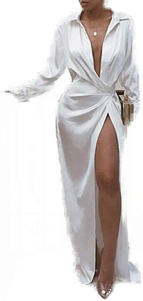 Women Solid Twisted Design Shirt Dress Lg Sleeve Floor-Length Turn Down Collar White Sexy & Club Sprg Fall Slit Dress
