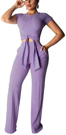 Women's 2 Pieces Long Sleeve Off Shoulder Sexy Crop Top+ Bodycon Jumpsuit Long Pant Skinny Romper