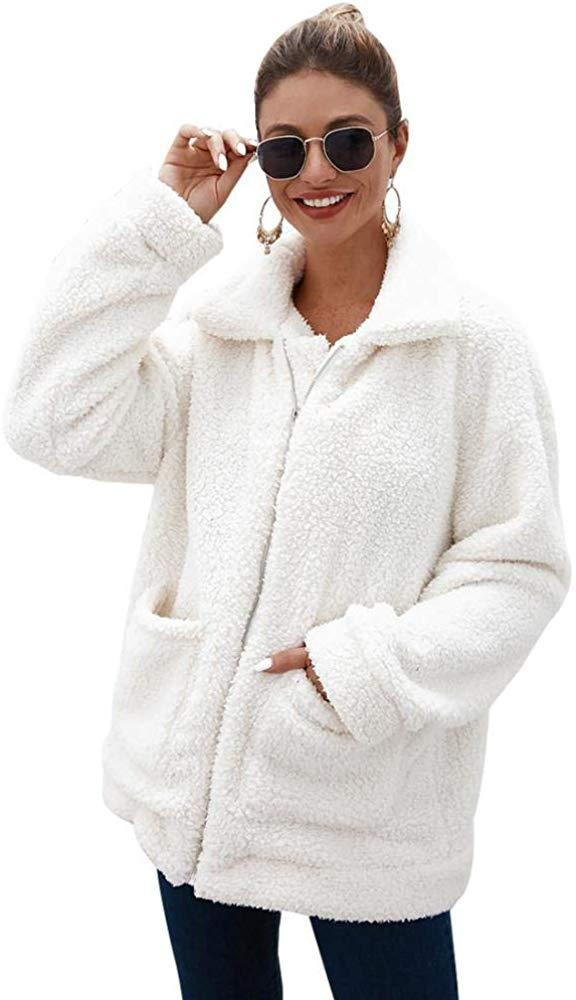 Women Faux Fur Cardigan Fashion Long Sleeve Fleece Jacket Casual Lapel Shearling Shaggy Coat