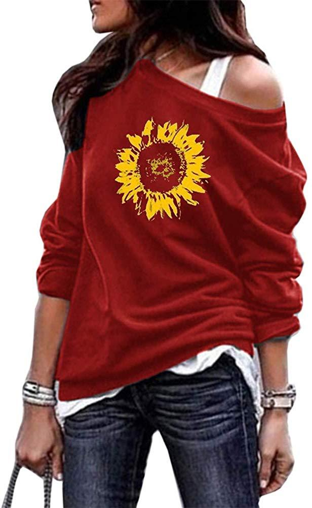 MaQiYa Womens Off The Shoulder Tops Sunflower Graphic Long Sleeve Pullover Sweatshirts