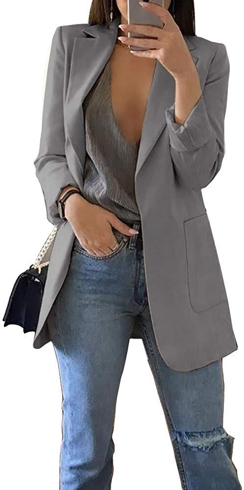 Koodred Women's Casual Work Office Open Front Long Sleeve Lightweight Loose Fit Blazer Jacket Cardigan Suit