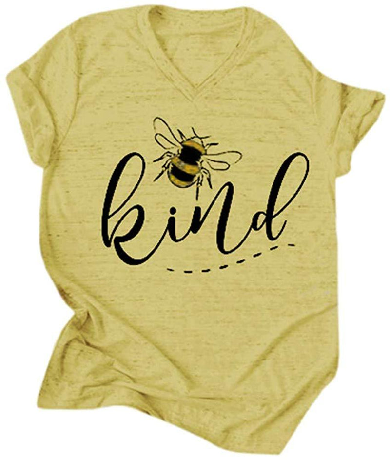 Pjjgerly Womens T Shirts Cute Graphic Letter Print Bee Happy Summer Casual Short Sleeve Cotton Tops Tees