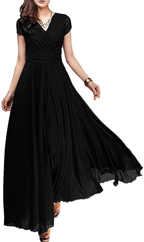 FYMNSI Women's Boho Solid Chiffon V-Neck Cocktail Bridesmaid Evening Party Gown Ball Prom Long Maxi Swing Dress