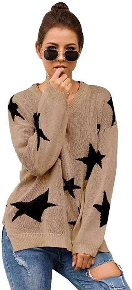 Puedo Women Knit Pullover Sweaters Long Sleeves V Neck Pullover Loose Fit Fashion Sweater with Stars