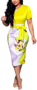 Women's Bodycon Dress Midi Work Casual Floral Prints Pencil Dresses with Belt