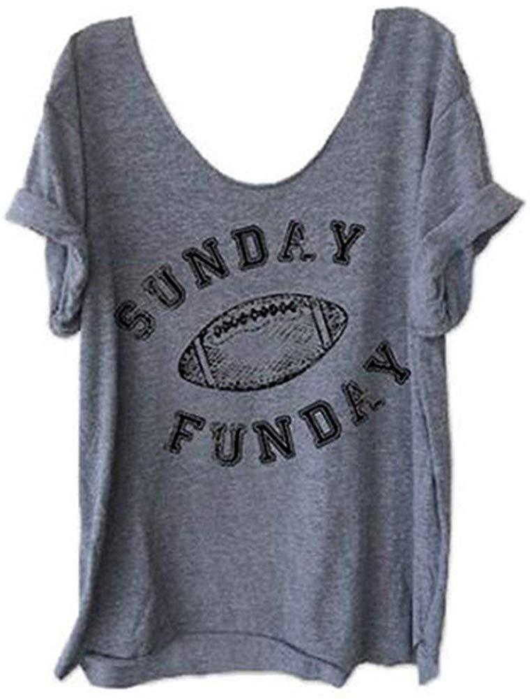 HDLTE Women Sunday Funday Football T Shirts Raglan Sleeve O-Neck Funny Splicing Tops Tee
