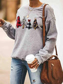 Women's Casual Sweatshirts Christmas Tree Print Long Sleeve Loose Fit Pullover Tops
