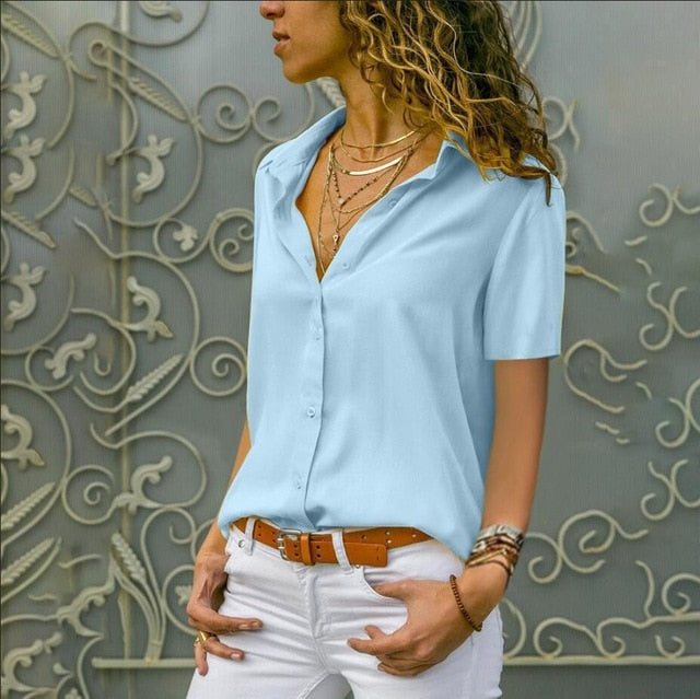 5XL Women Tops Lapel Plus Size Summer Elegant Short Sleeve Blouses Tunic V-Neck Chiffon Blouse White Mujer Work Slim Shirt