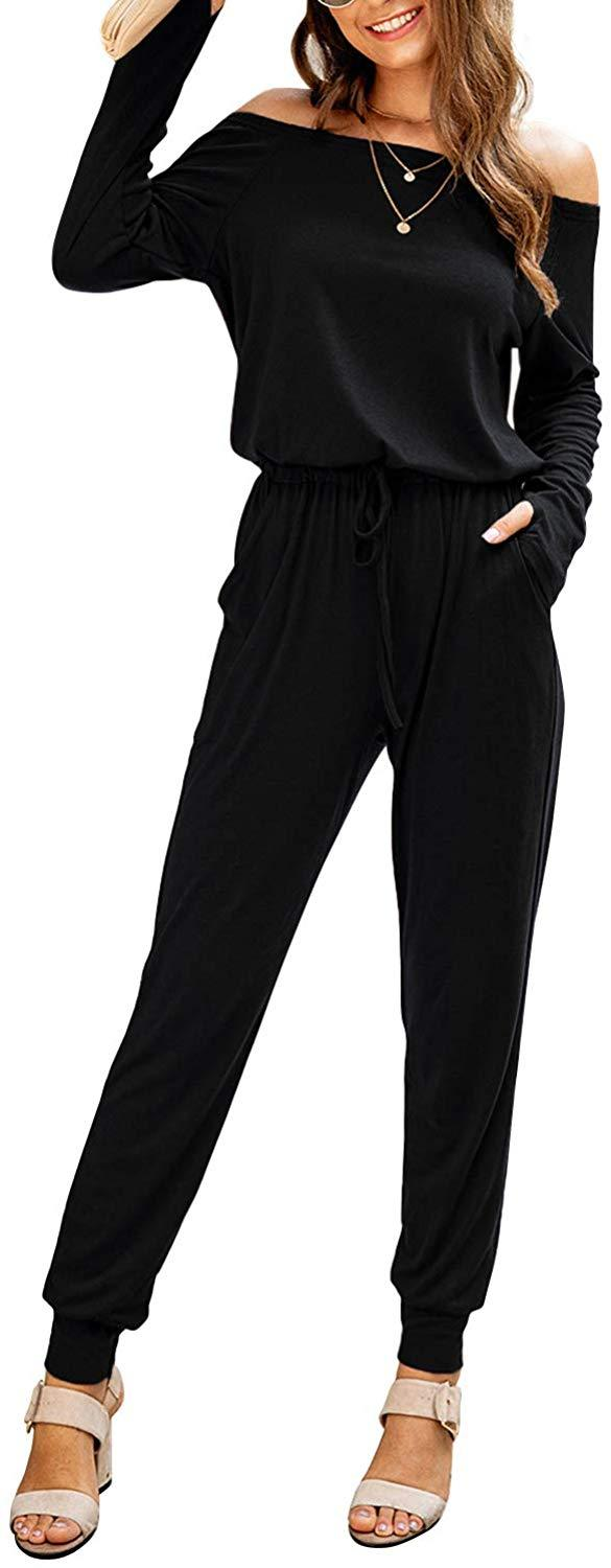 Caiecase Women's Long Sleeve Jumpsuit One Piece Stretchy Buttom Deep V Neck Bodycon Bodysiut