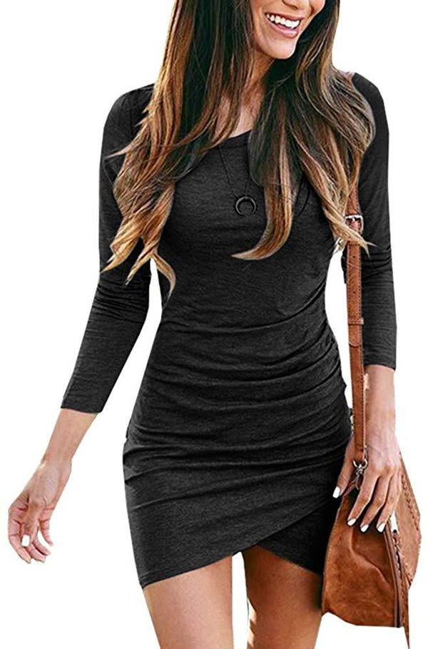 Cicy Bell Womens Crew Neck Ruched Dresses Long Sleeve Stretchy Bodycon T Shirt Short Mini Dress