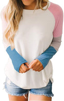 Hosamtel Fashion Womens T-Shirt Long Sleeve Patchwork Button Tie Pullover Ladies Casual Tops Sweatshirt Blouse Top 1
