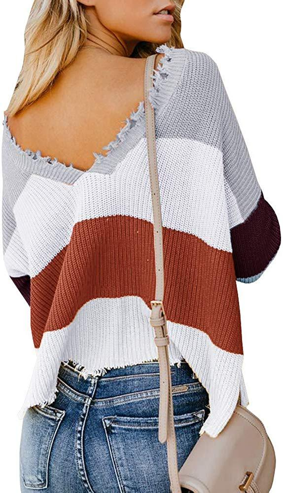 Womens V Neck Cropped Sweaters Distressed Loose Warm Knitted Pullover Jumper Top