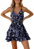 Saikesigirl Short Jumpsuits for Women Spaghetti Strap Deep V Neck Leopard Ruffle Romper Dress