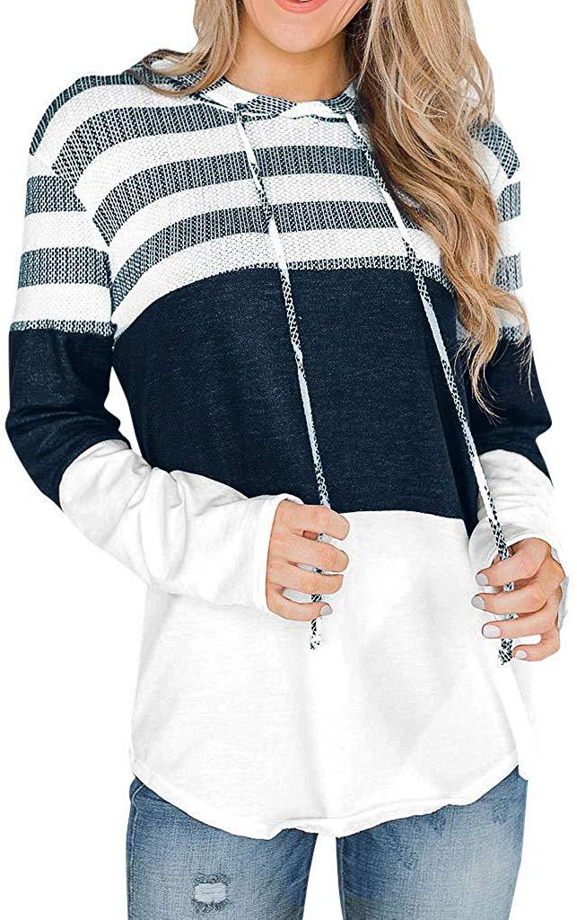 Hosamtel Fashion Womens T-Shirt Long Sleeve Patchwork Button Tie Pullover Ladies Casual Tops Sweatshirt Blouse Top
