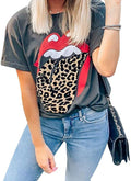 Women Red Lip Leopard Tongue T-Shirt Short Sleeve Cute Graphic Teen Girls Tee Tops
