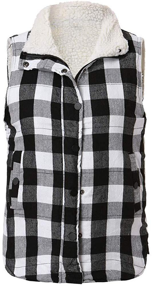 Rambling New Women's Casual Slim Fall Lightweight Plaid Down Vest Outdoor Puffer Quilted Vest Jacket with Zipper