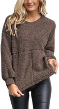 Womens Sherpa Pullover Top Fuzzy Fleece Sweatshirt Long Sleeve Causal Outwear Coats Blouse