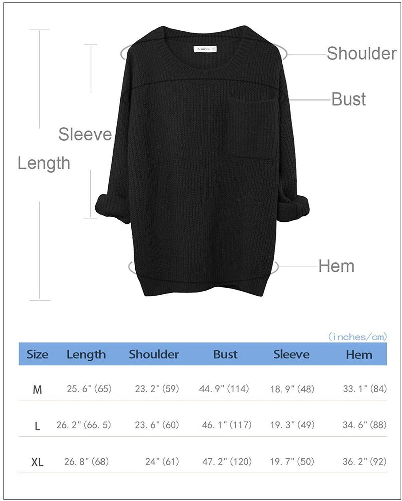 Amrto Women Oversized Pullover Sweaters Crew Neck Knit Winter Tops with Pocket