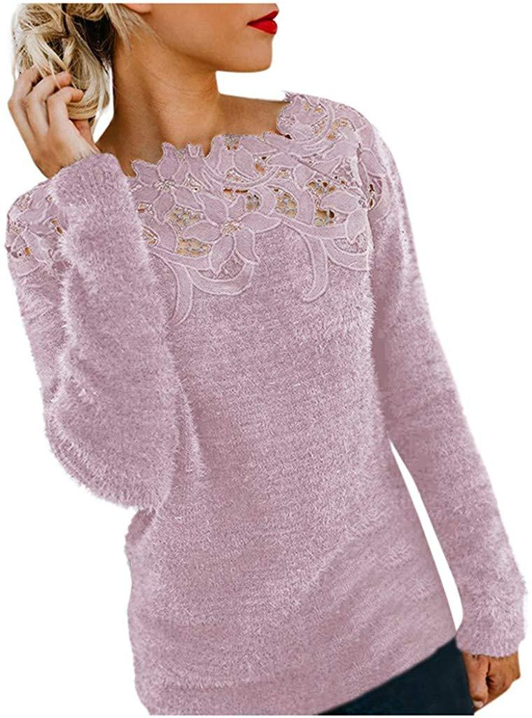 HIRIRI Women Long Sleeve Pullover Fluffy Fuzzy Sweater Shirt Lace Patchwork Loose Jumper Tops