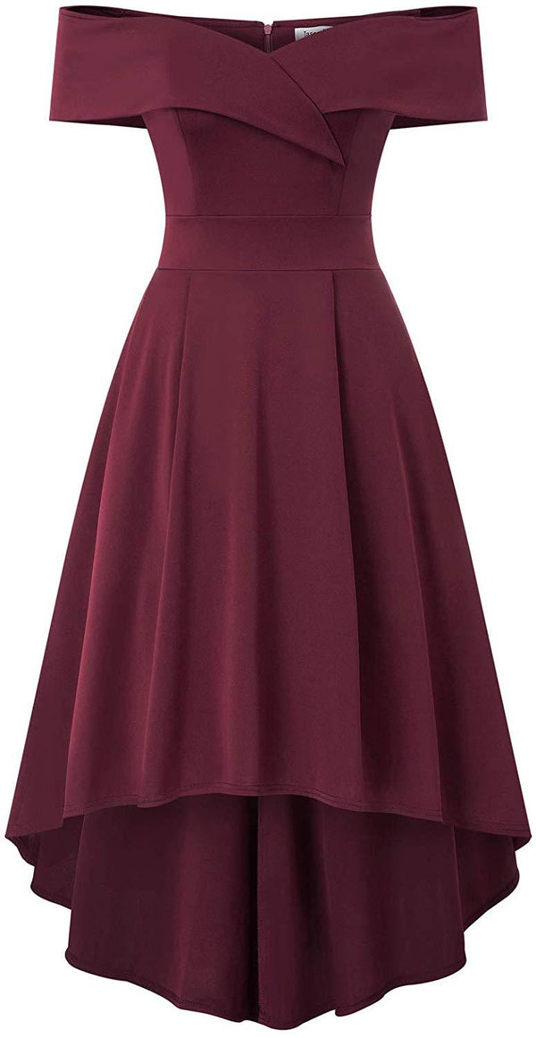 JASAMBAC Women's Off Shoulder High Low A Line Wedding Guest Party Cocktail Dress