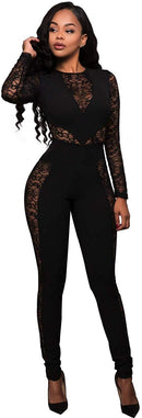 PORRCEY Women Long Sleeve Club Overalls Lace Bodycon Romper Party Jumpsuits