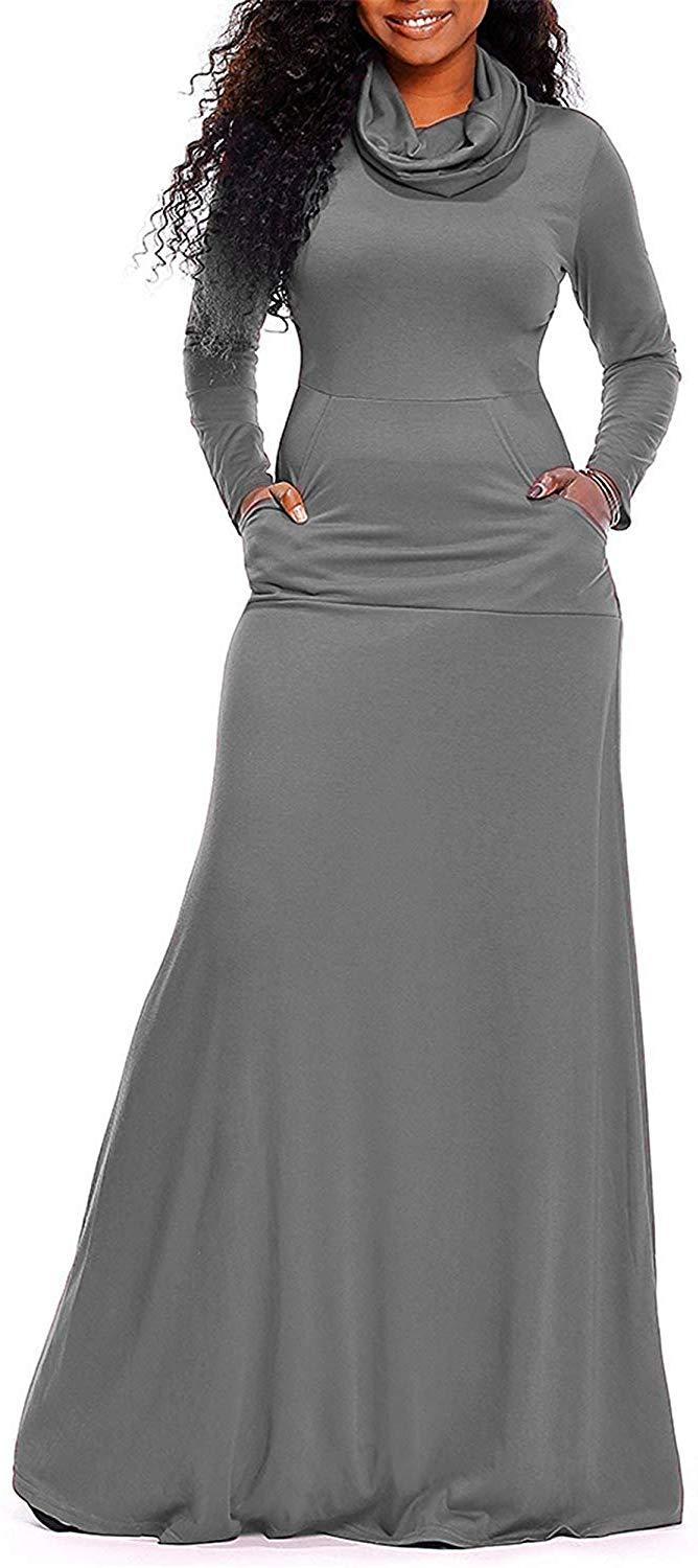 Rela Bota Women's Bodycon Long Sleeve Cowl Neck Plain Loose Casual Long Maxi Dress with Pockets