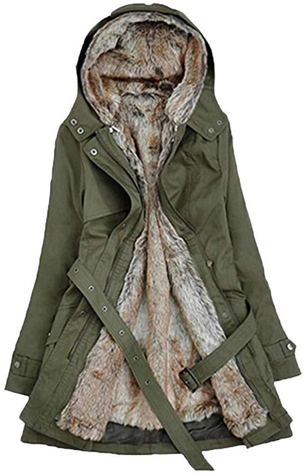 HGWXX7 Women's Winter Warm Faux Fur Lining Trench Coat Thick Long Jacket Hooded Parka 1