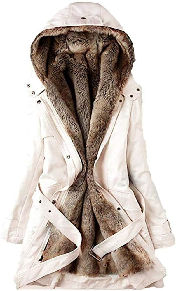 HGWXX7 Women's Winter Warm Faux Fur Lining Trench Coat Thick Long Jacket Hooded Parka